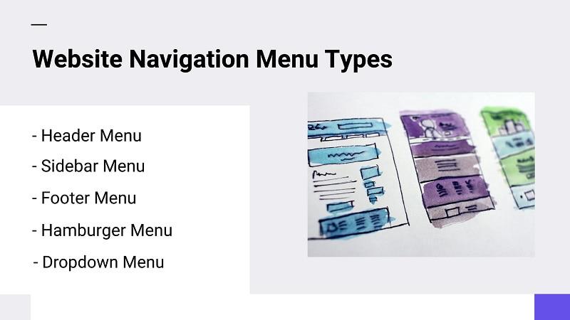 website navigation menu types