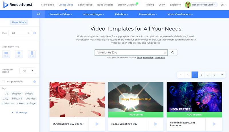 Valentine's video - templates
