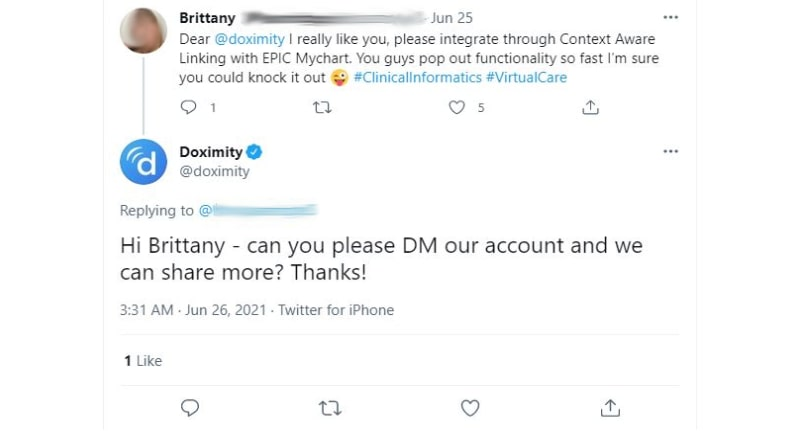 Doximity's Twitter reply to a customer