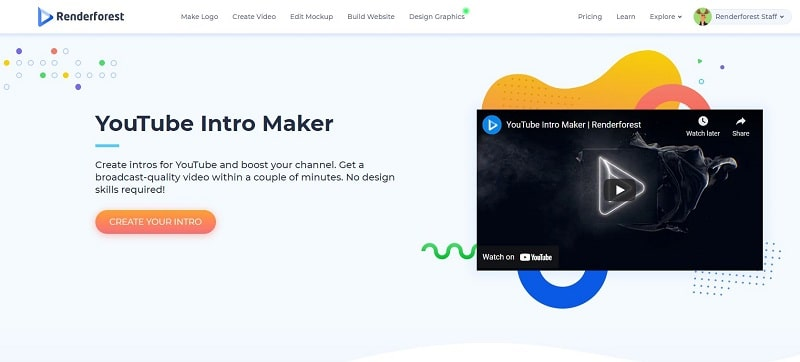 Renderforest YouTube intro maker landing page