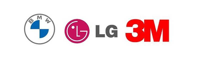 Helvetica font on monogram logos