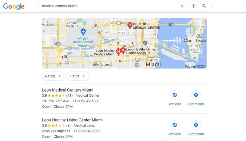 local search for medical centers