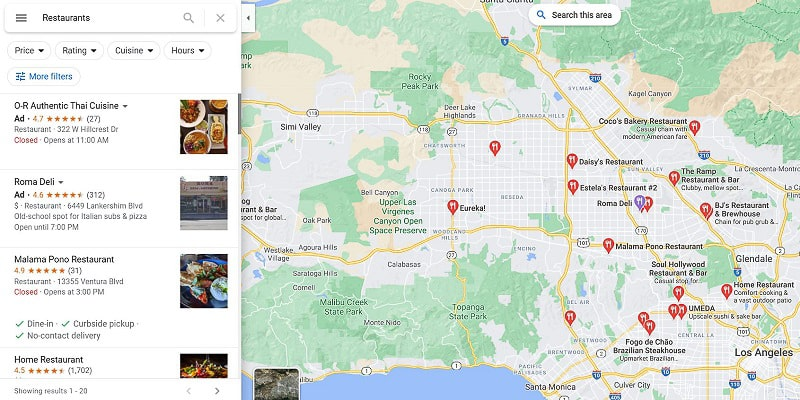 businesses on Google Maps