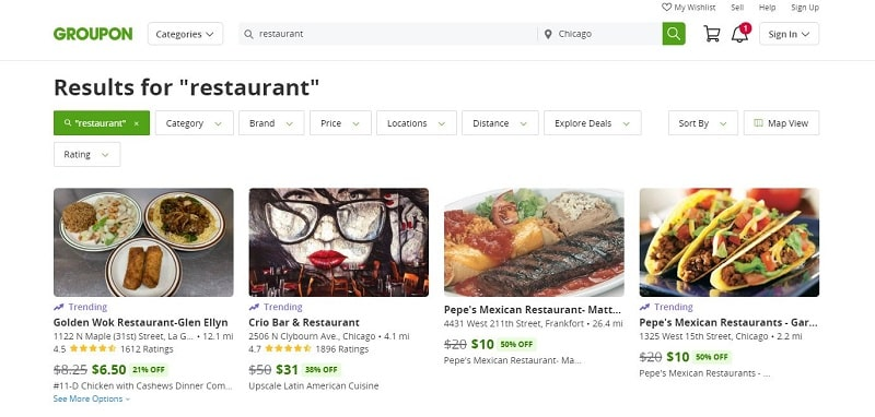 restaurant coupons on Groupon