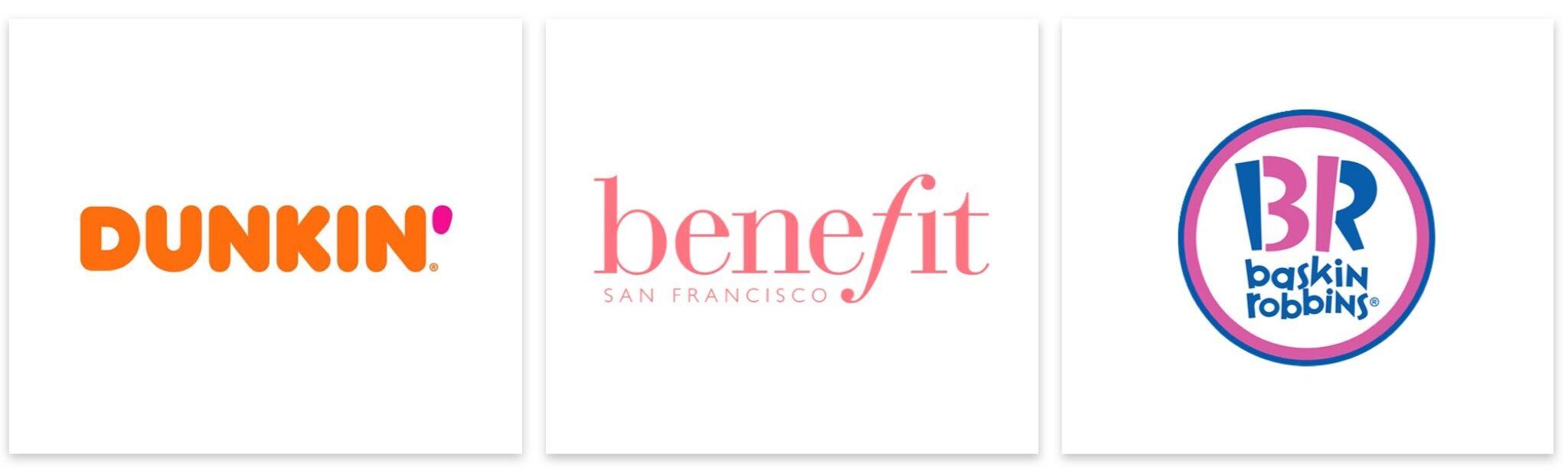 pink logos-dunkin' donuts-benefit-baskin robbins