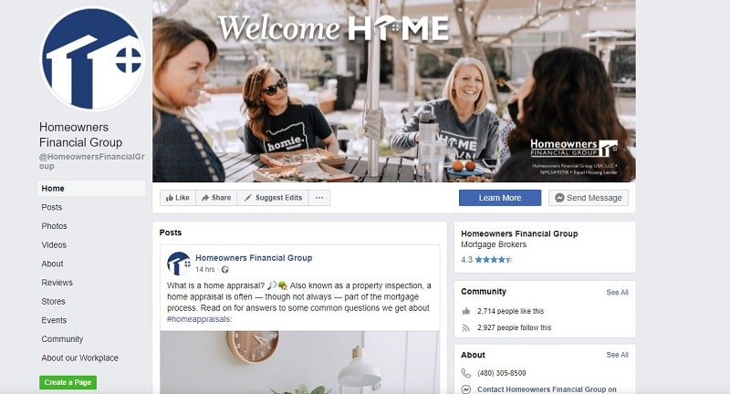 Homeowners financial group on Facebook