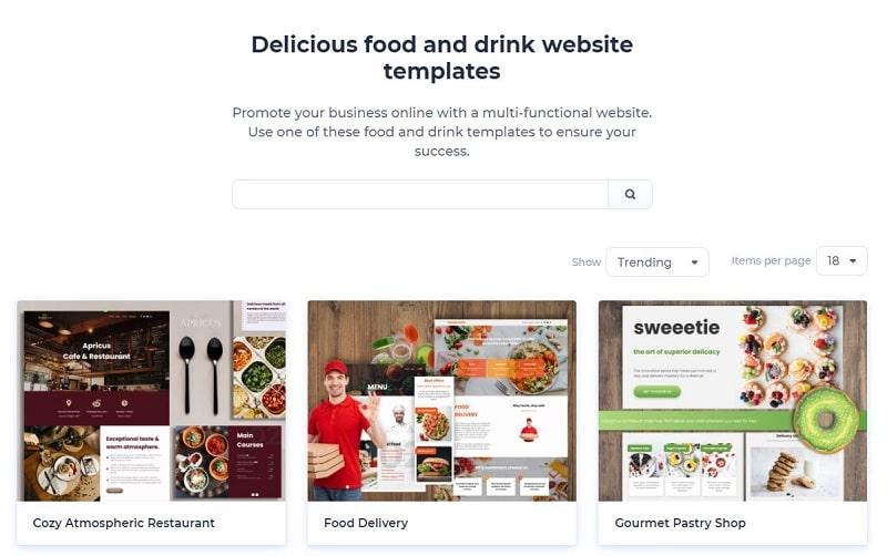 restaurant website templates Renderforest