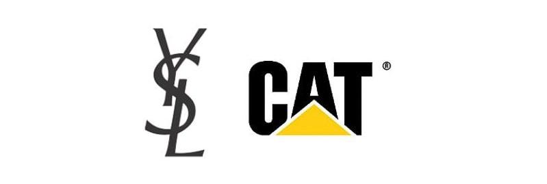 YSL and CAT monogram logos