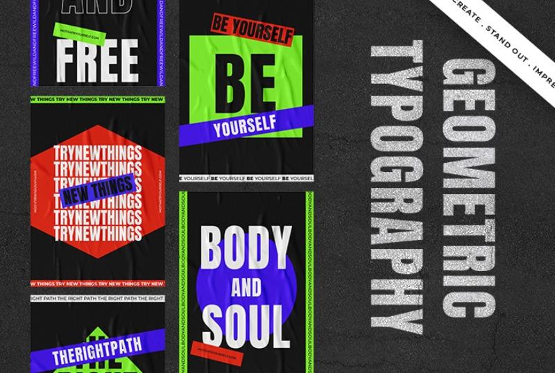 geometric typography pack