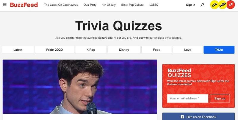Buzzfeed trivia quizzes