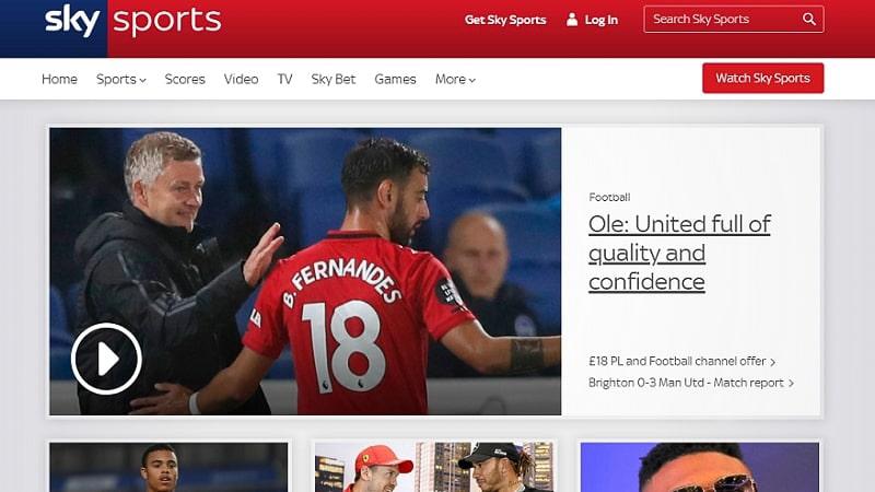 Skysports website