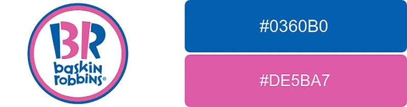 Baskin-Robbins logo colors with hex codes