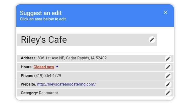 editing business info for online listings
