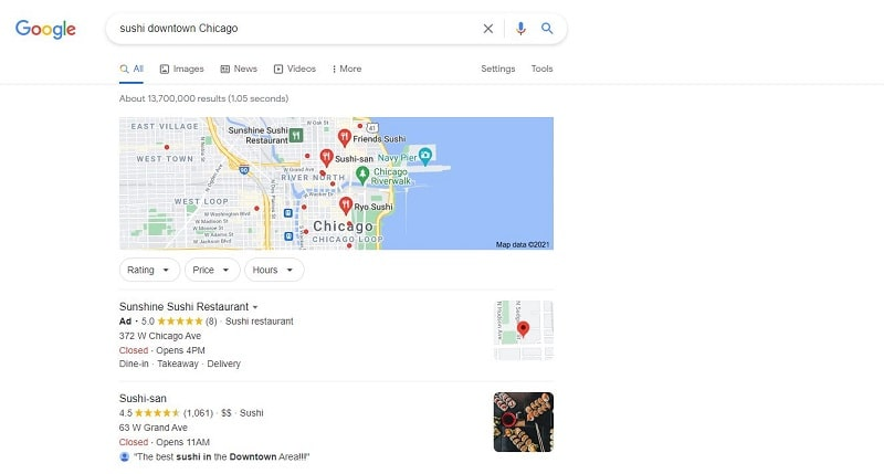 local restaurant search query on Google