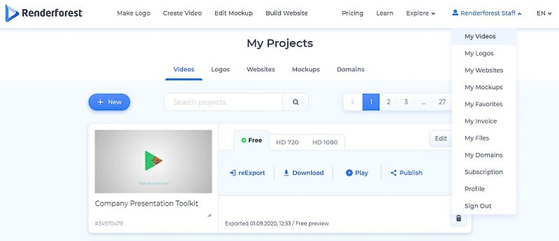 """""""My Projects"""" page"""