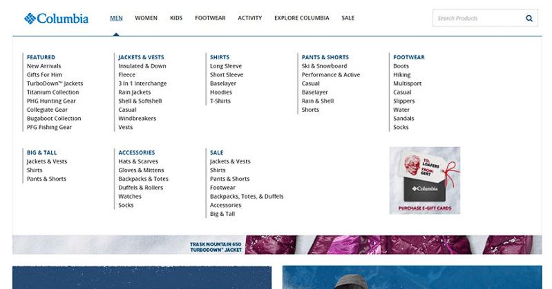columbia navigation menu