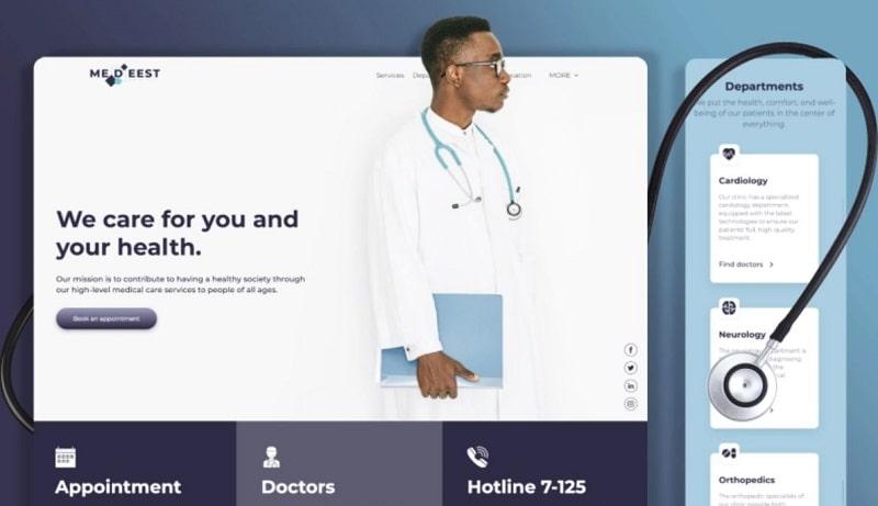 healthcare website template Renderforest