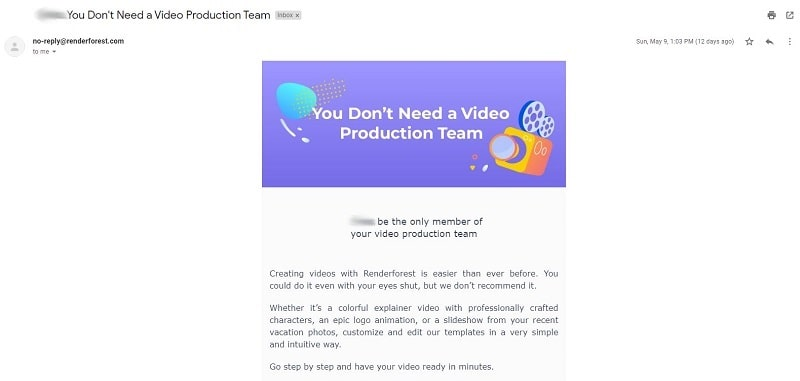 Renderforest email newsletter