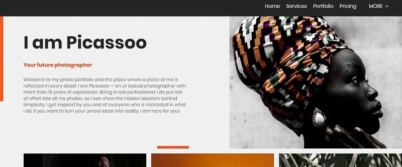 photography website template Renderforest