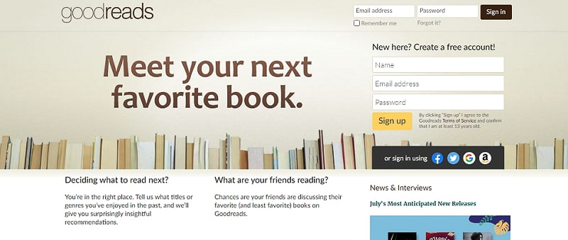 goodreads website