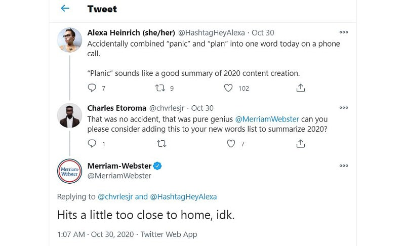 Merriam-Webster Twitter reply