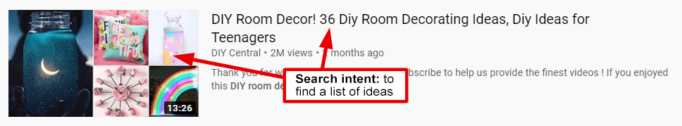 youtube search intent