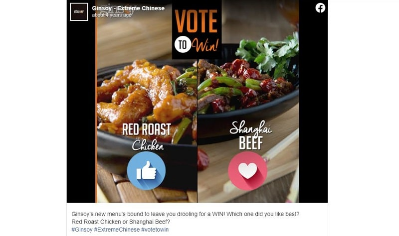 social media poll for dishes