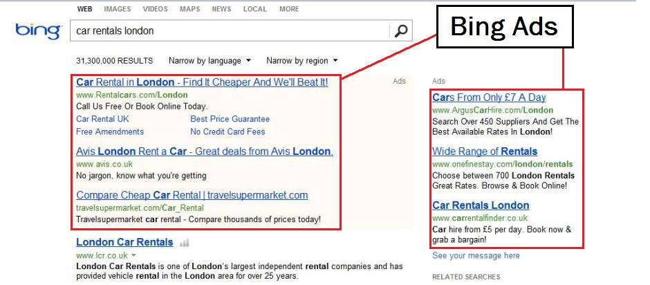 ads on Microsoft Bing