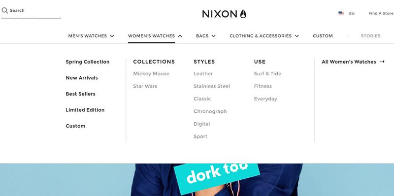 nixon navigation menu