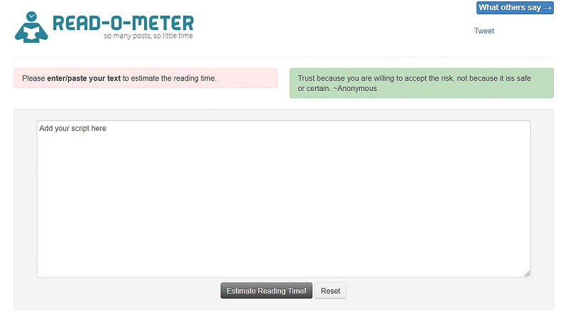 estimate reading time online tool