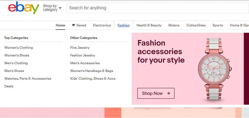 eBay dropdown menu