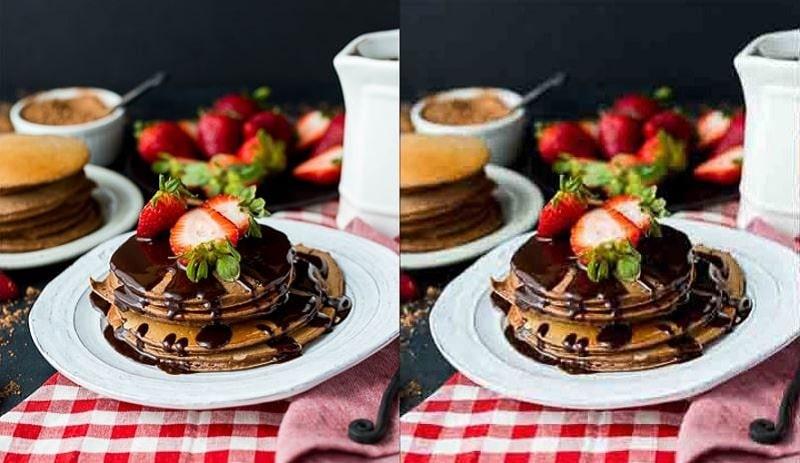 high-quality vs. low-quality food photos