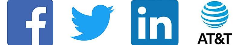 social media and telecommunications blue logos