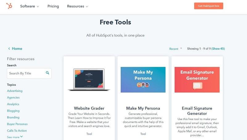 HubSpot free tools