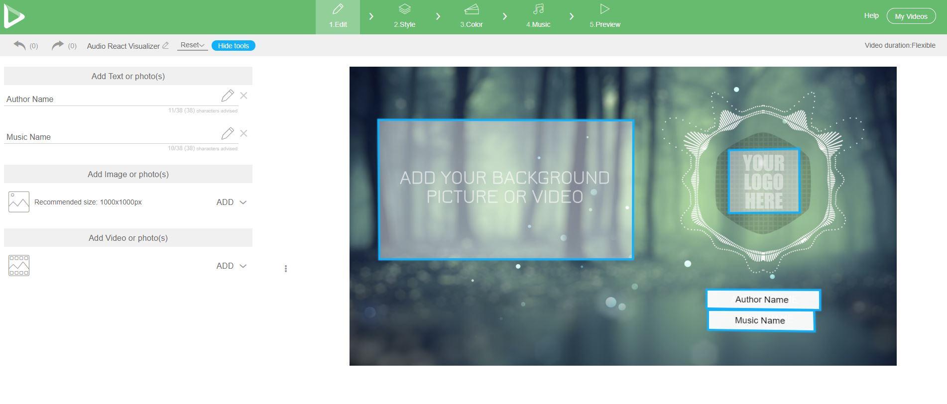 Audio React Visualizer Editor