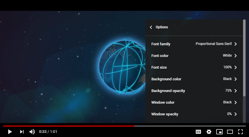 youtube captions display customization