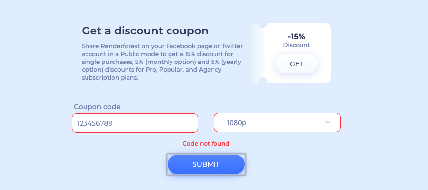 coupon code not found