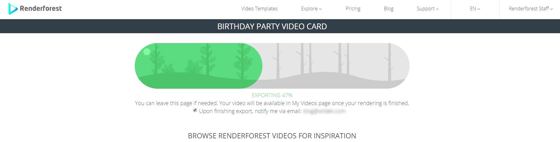 Экспорт Проекта Renderforest