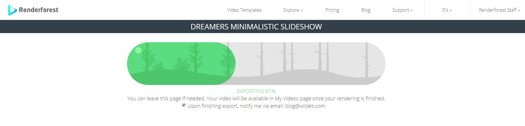 Video Export Renderforest