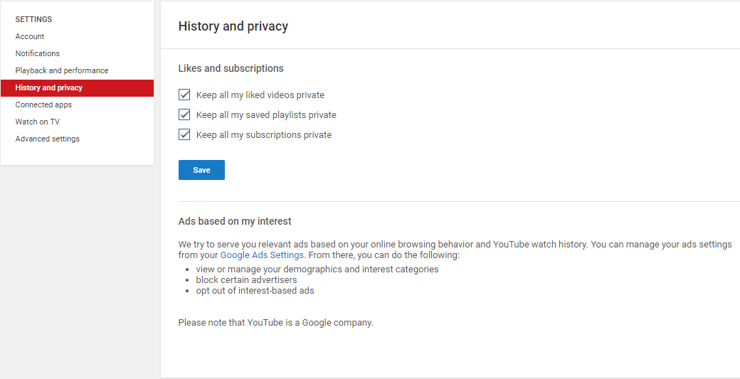 Youtube history and privacy