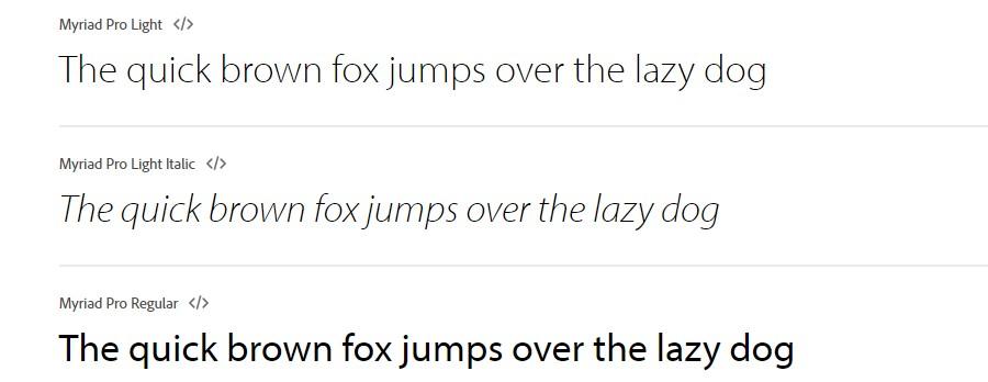 Myriad font family