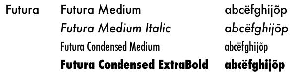 Futura font family