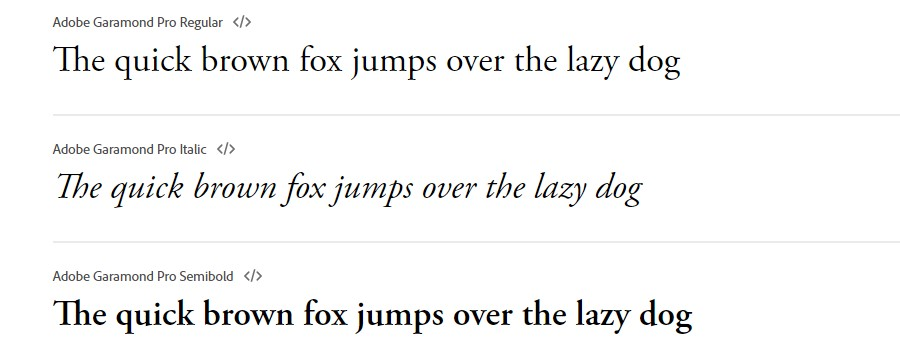 The Garamond fonts