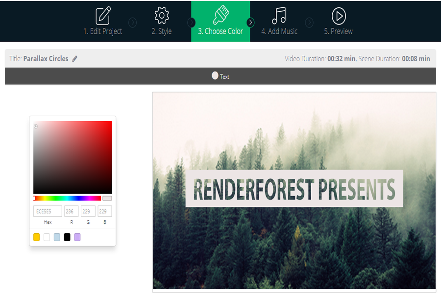 Renderforest Choose Color Editor