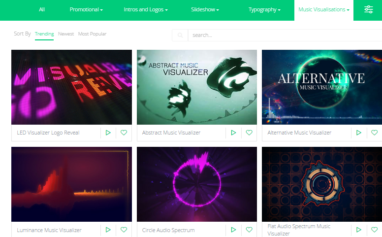 Music visualizer templates