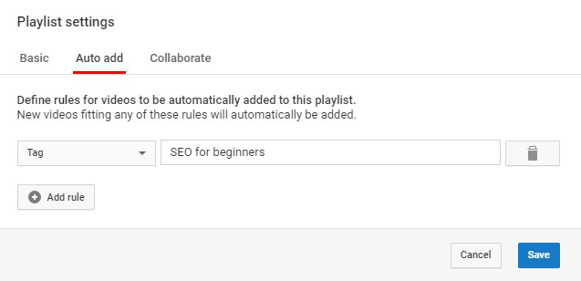 Youtube Playlist Setting