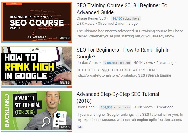 SEO Training Youtube