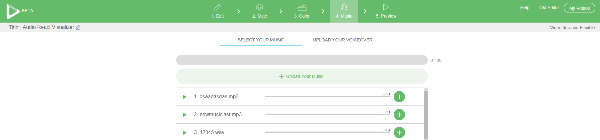 Renderforest Select Your Music