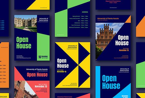 Illustrationen von offenen Türen der Universität