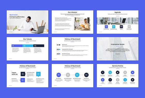 Diapositives pour présentations d'entreprise
